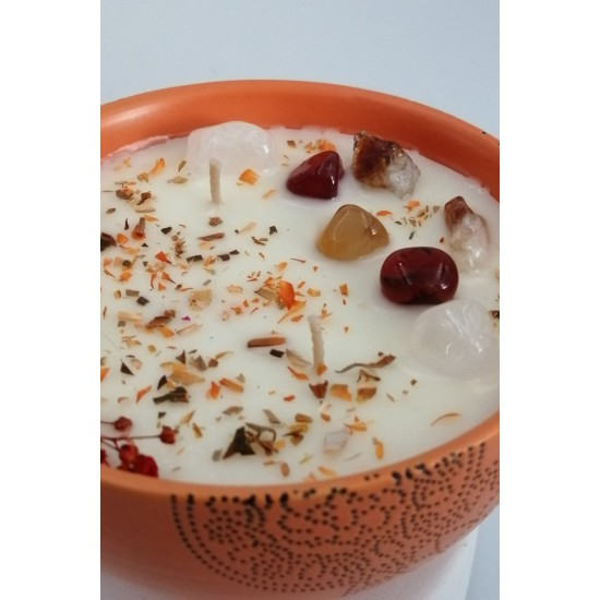 BULLA ORANGE 230 ml   Seramik / Coconut ve Soya Mumu  /AKİK+CITRINE Enerji Taşlı / NEROLI (Afrika Acı Portakal Çiçeği)