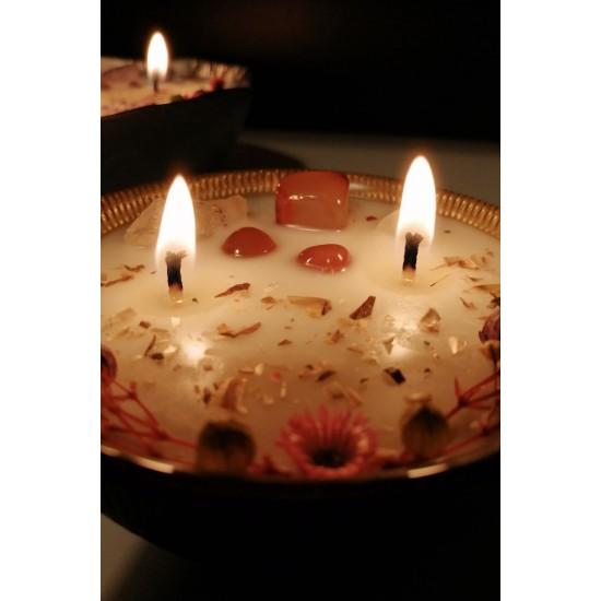 BULLA YEŞİL 230 ml   Seramik / PEMBE QUARTZ+AVENTURINE Enerji Taşlı / Soya-Coconut Mumu/Jade (Gül ve Vanilya)