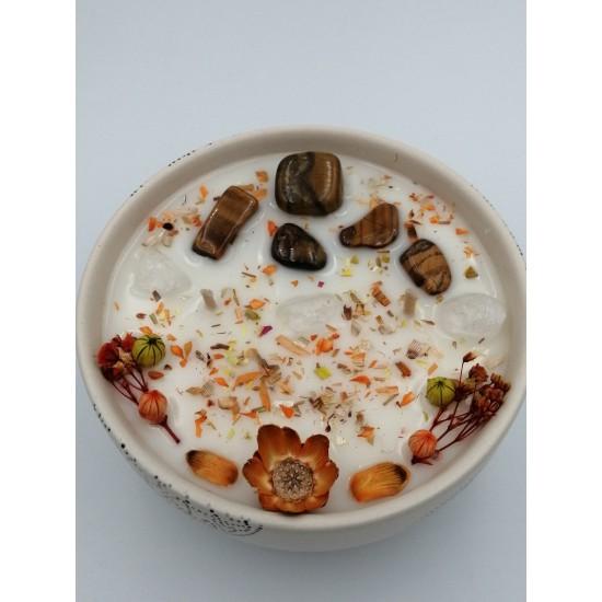 BULLA BEJ 230 ml Seramik /TIGER'S EYE Enerji Taşlı / Soya-Coconut Mumu/ JASMINUM (Yasemin)