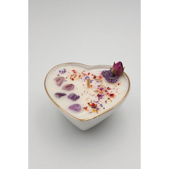 ÖZEL HEDİYE SETİ /SERAMİK KALP  coconut-soya mumu ve oda kokusu /JADE in ROSES (inspired by Mancera)