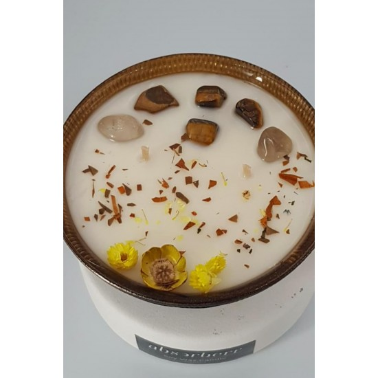 BLACK DORIA 185 ml /TIGER's EYE Enerji Taşlı Soya-Coconut Mumu/JASMINUM (Yasemin)