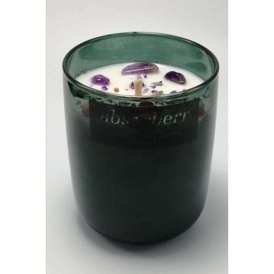 GREEN 270 ML / AMETIST Enerji Taşlı  Soya & Coconut Mumu / RELAX (Fransız Lavantası)
