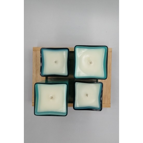 Dört Işık  640 ml - Ametist Enerji Taşlı Soya & Coconut Mumu - Sukha (Sandal Ağacı)